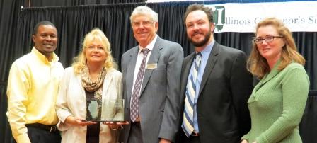 University of Illinois sustainability staff accepting the Illinois State Governor's Award