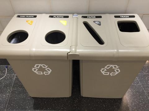 Bins with Cans/Plastics, Plastics, Paper, and Trash
