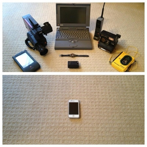 Before and after image showing the impact of reduced e-waste