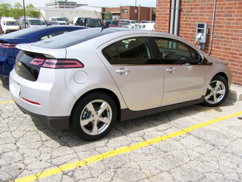 silver volt parked at Soybean building charging station