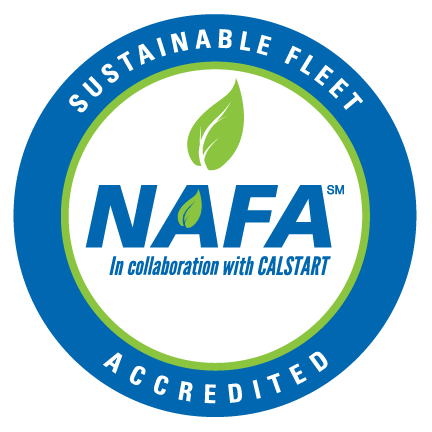 "circular logo with phrase ""Sustainable Fleet Accredited"" surrounding the words ""NAFA in collaboration with Calstart"""