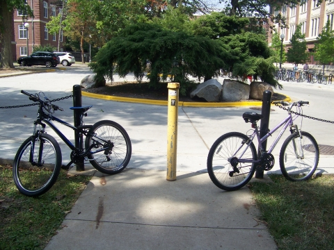 Bicycles locked to the chains near the sidewalk