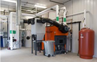 Biomass boiler at energy farm