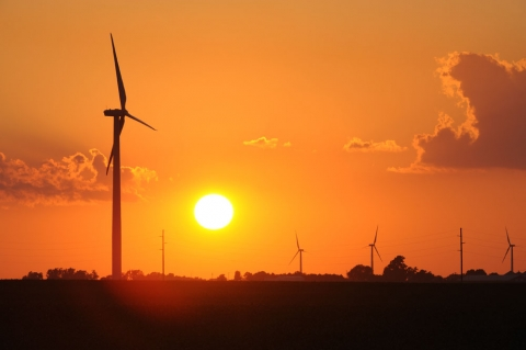 Picture of a Wind turbine at sunset at the RailSplitter Wind Farm