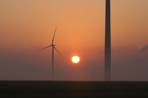 Picture of a Wind turbine at sunrise at the RailSplitter Wind Farm