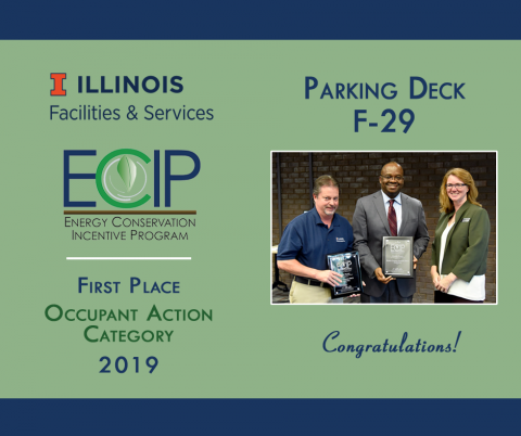 ECIP winners from Parking accept their award plaque