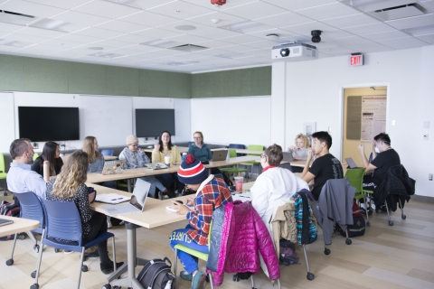 Students taking NRES 285: Student iCAP use the collaboratory to discuss objectives and goals of the upcoming iCAP 2020.