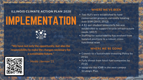 Illinois Climate Action Plan 2020 Chapter Summary: Implementation. Where we've been: 2 RLFs established to fund conservation projects, currently totaling over $5M (2011, 2012); $1/student semesterly fee established to support bicycle infrastructure needs (2017); Staffing for sustainability evolved from isolated positions to cross-functional teams. Where we're going: Commit to a Sustainable Investing Policy by FY24; Fully divest from fossil fuel companies by FY25; Integrate iCAP in next campus Strategic Plan