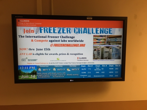 Digital advert for the Freezer Challenge at the ACES library