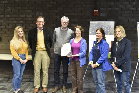 The University of Illinois at Urbana-Champaign Freezer Challenge certificate awarded to Evan DeLucia at the Sustainability Week