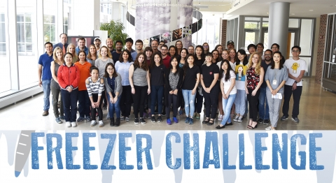 Freezer Challenge group picture with the Freezer Challenge logo