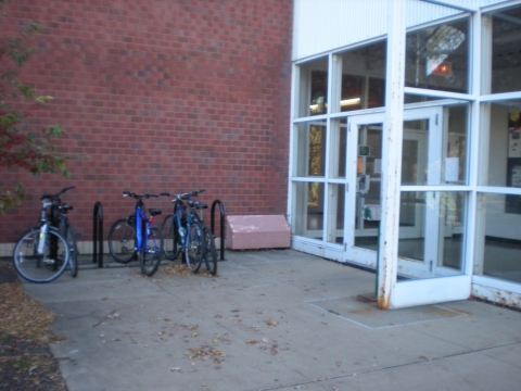 Bike parking at the NE entrance of the Agricultural Engineering and Sciences Building (AESB) - front view