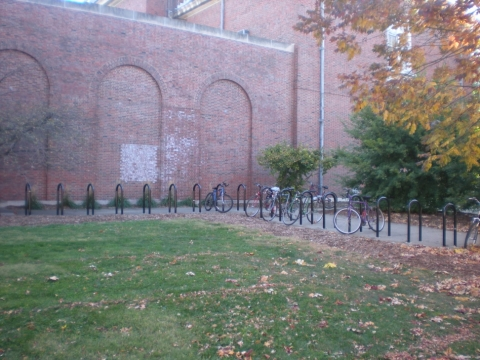 Ground mounted bike parking area at Freer Hall
