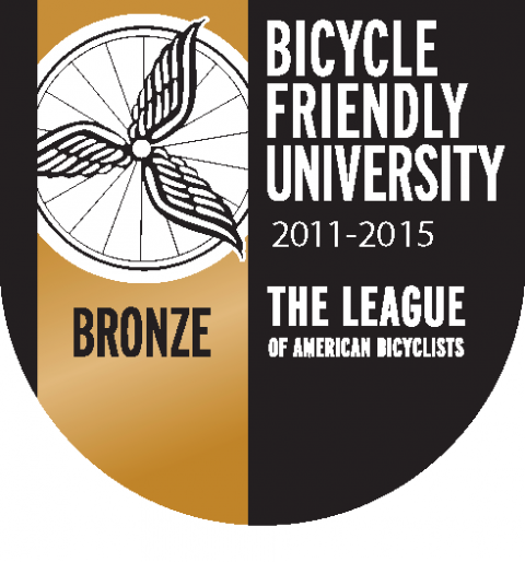 Bicycle Friendly University Bronze status shield for 2011-15