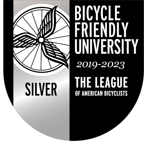 Bicycle Friendly University Silver status shield for 2019-23