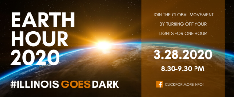 Earth Hour announcement, join the global movement by turning off your lights for one hour March 28, 2020 at 8:30 pm