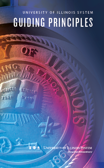 multiple colors wash over the university seal