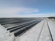solar panels in many rows stretch into the distance with snow on the ground under a blue sky