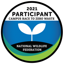 The 2021 participant badge for the Campus Race to Zero Waste challenge, with support by the National Wildlife Foundation.